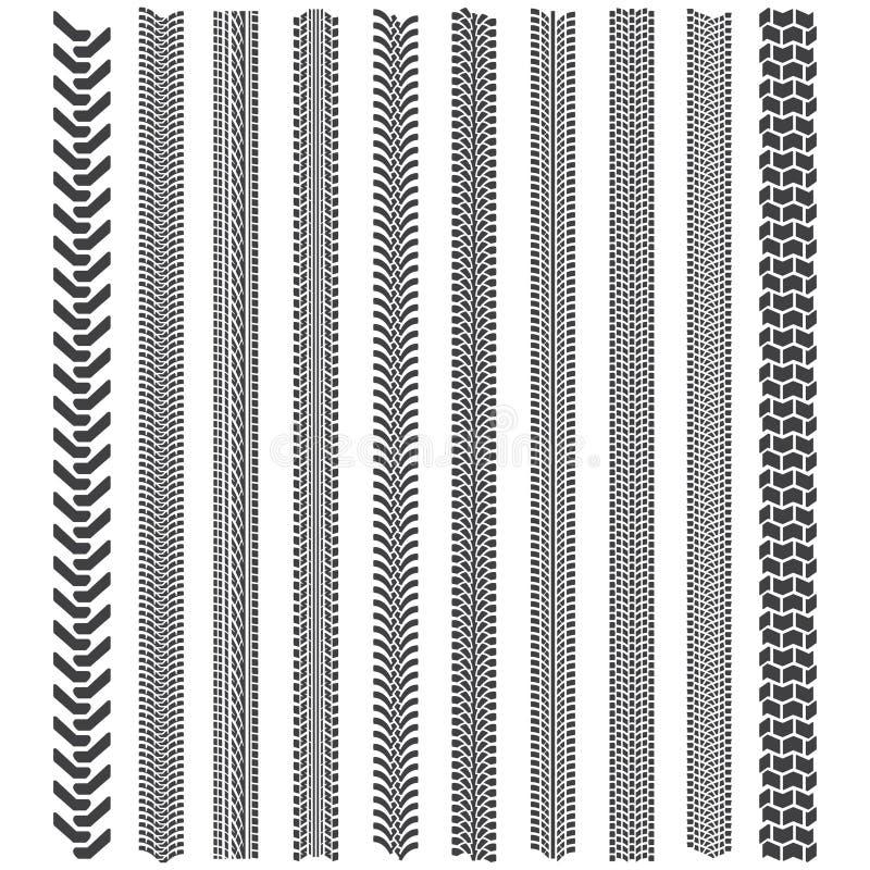 Gummihjulspårmodeller En uppsättning av detaljerad gummihjuldäckmönster stock illustrationer