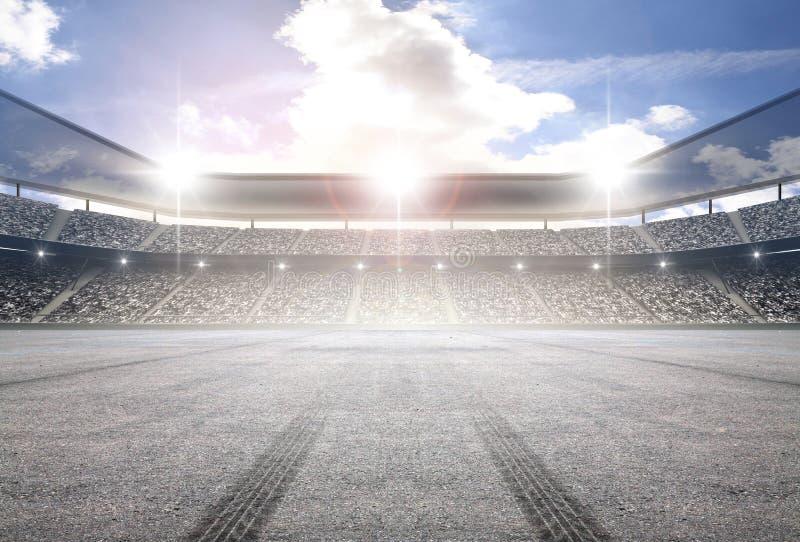 Gummihjulspårstadion arkivbild