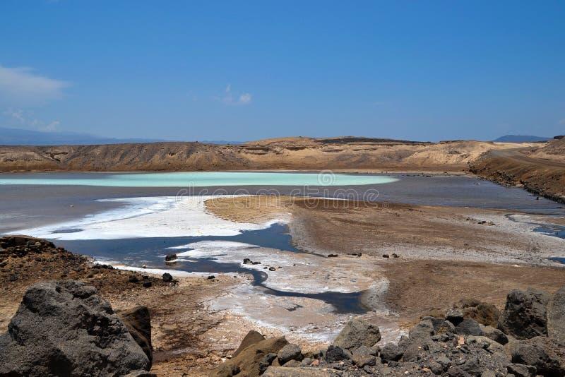 Gummilacka Assal, Djibouti royaltyfri bild