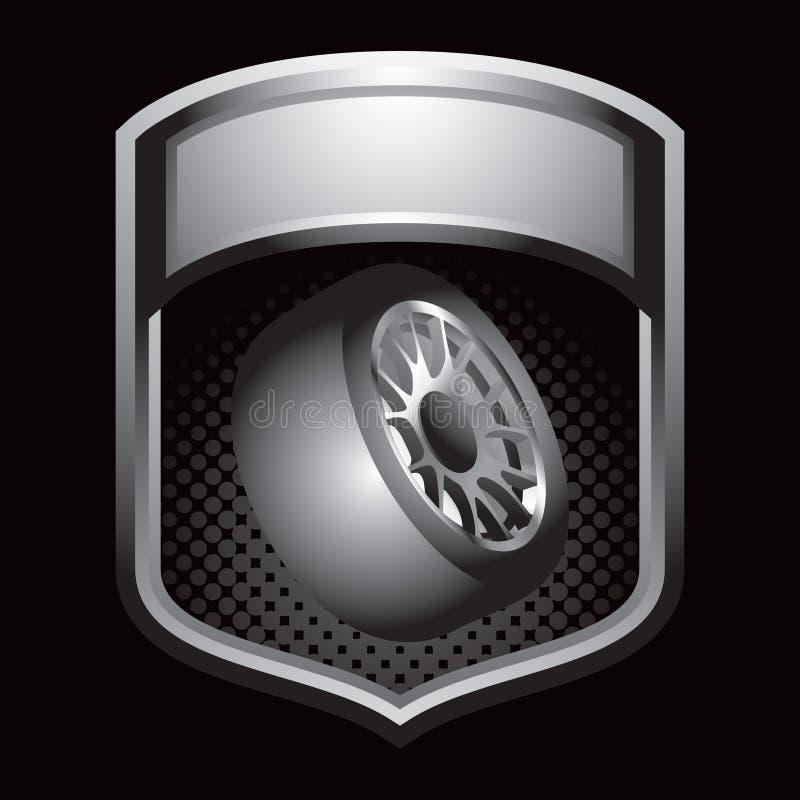 Gummireifen in der silbernen Bildschirmanzeige lizenzfreie abbildung