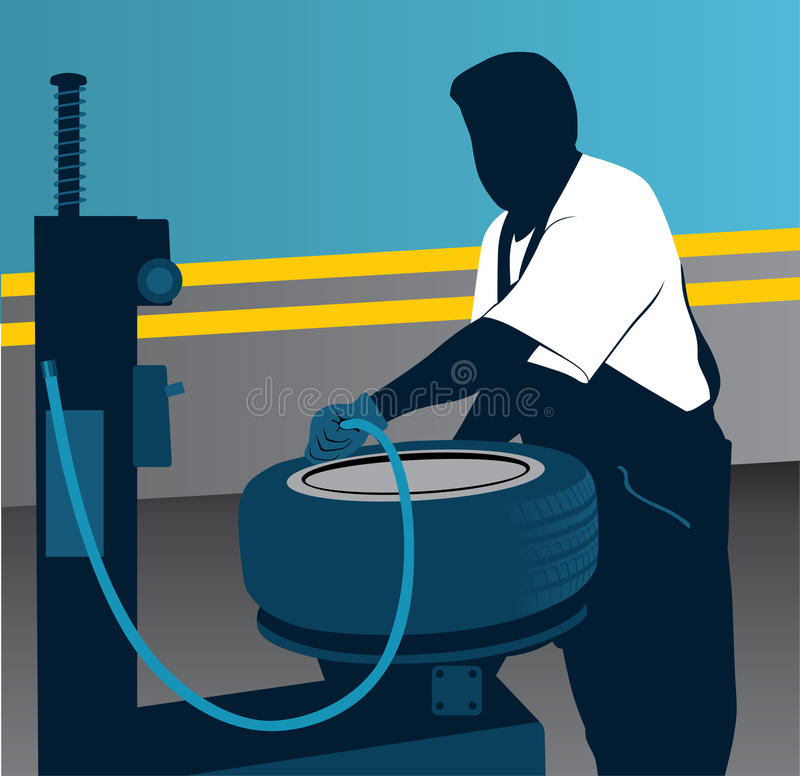 Gummireifenmechaniker stock abbildung