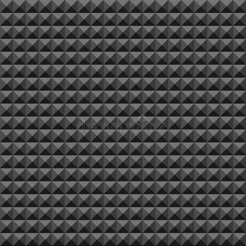 Gummiwandmuster des akustischen Schaums, dunkler nahtloser Hintergrund mit Pyramide und Dreieckbeschaffenheit für solide Studioau lizenzfreie abbildung