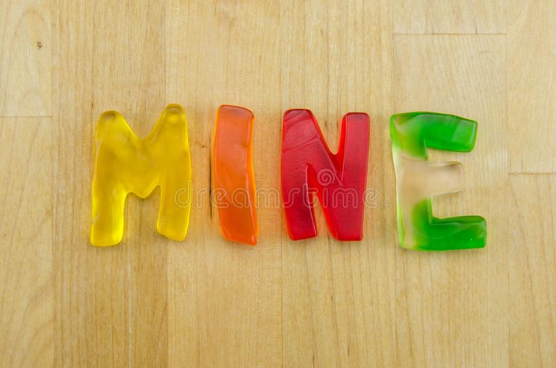 Gummy ορυχείο λέξεων στοκ εικόνες
