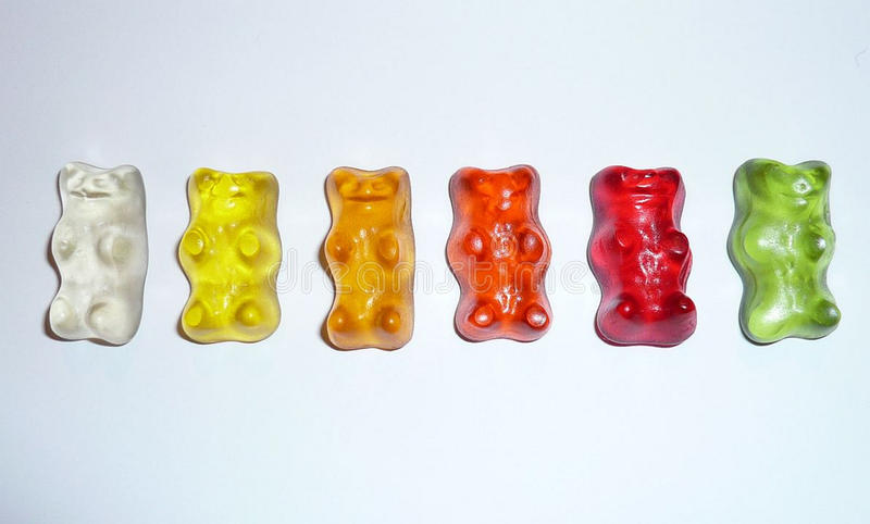 Gummy Bears in a White Surface royalty free stock images