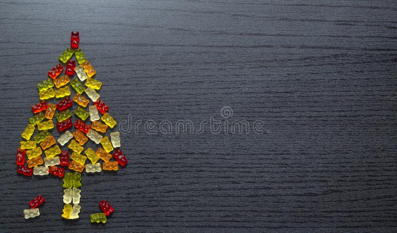 Gummy figurines Christmas tree card stock images