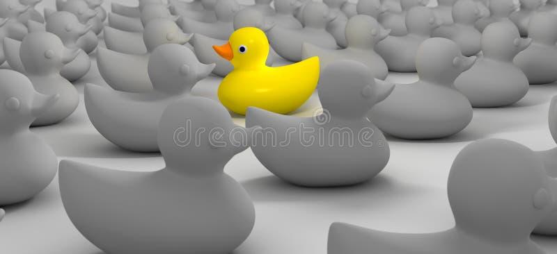 Gumowa kaczka Przeciw przepływowi ilustracja wektor