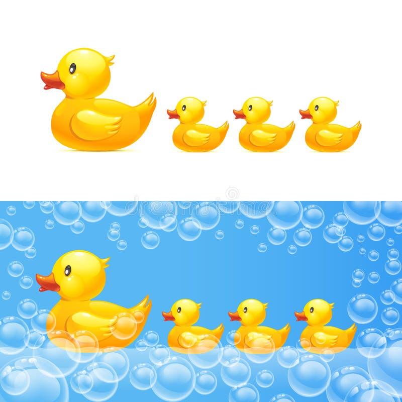 Gumowa kaczka z kaczątkami wektor royalty ilustracja