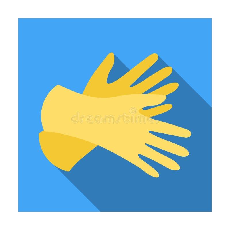 Gumowa rękawiczki ikona w mieszkanie stylu odizolowywającym na białym tle Cleaning symbol ilustracja wektor