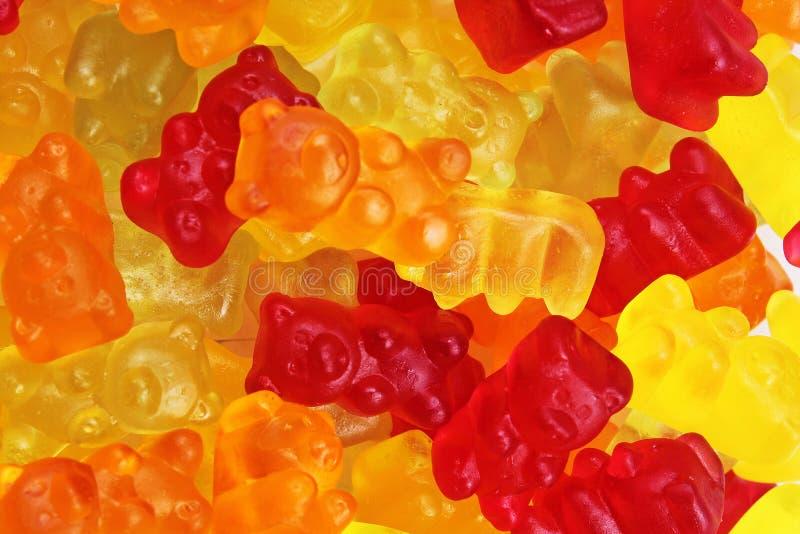 Gumowaty niedźwiadkowy tło Gumowaci niedźwiedzie jako tekstura Dziąsło niedźwiadkowego cukierku kolorowy wzór fotografia royalty free