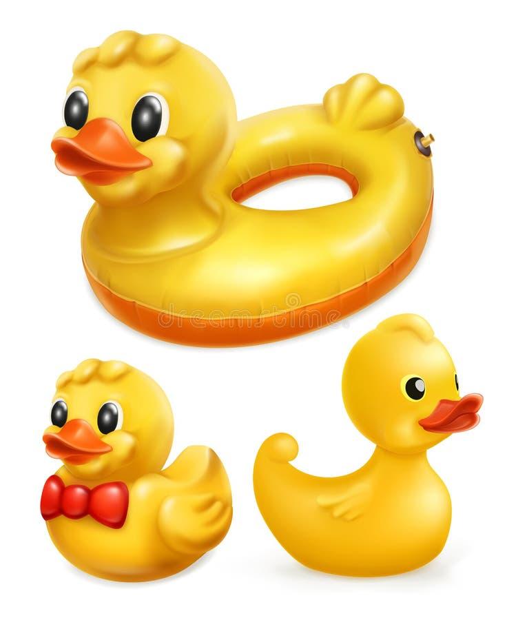 Gumowe kaczki, wektorowy ikona set royalty ilustracja