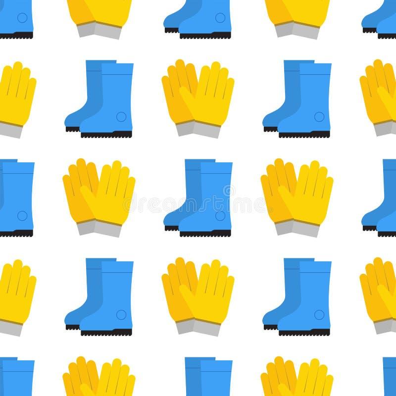 Gumowej żółtej ochron rękawiczek kreskówki płaska bezszwowa deseniowa wektorowa ilustracja royalty ilustracja