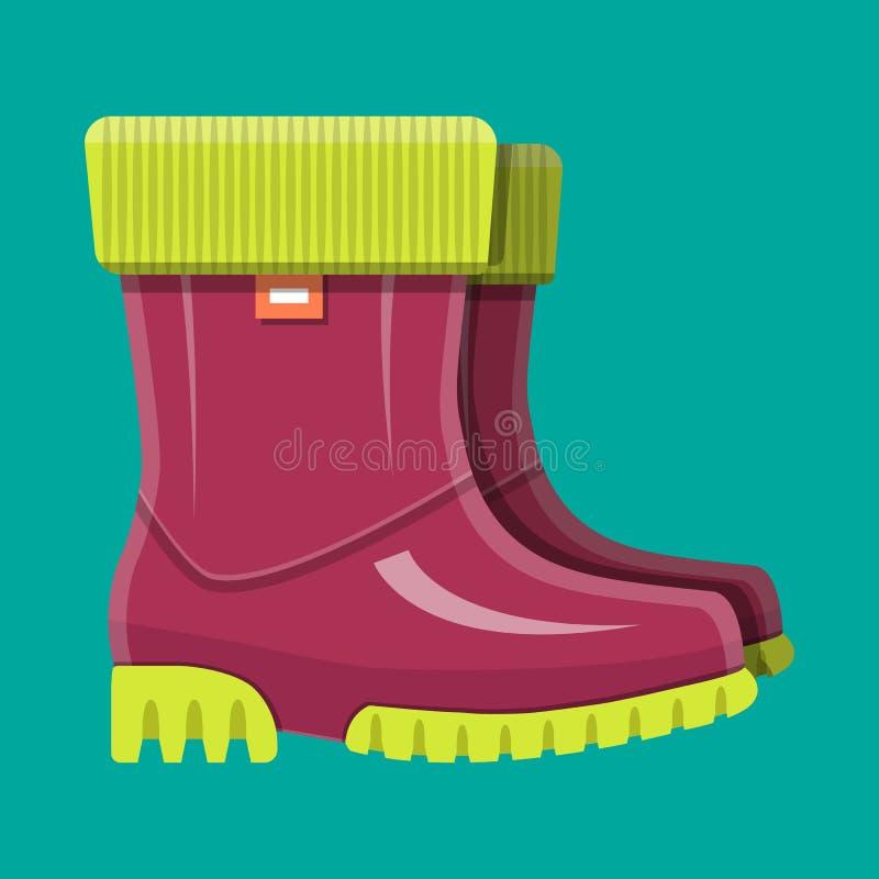 Gumowi buty Buty dla deszczu Wodoodporny obuwie ilustracja wektor