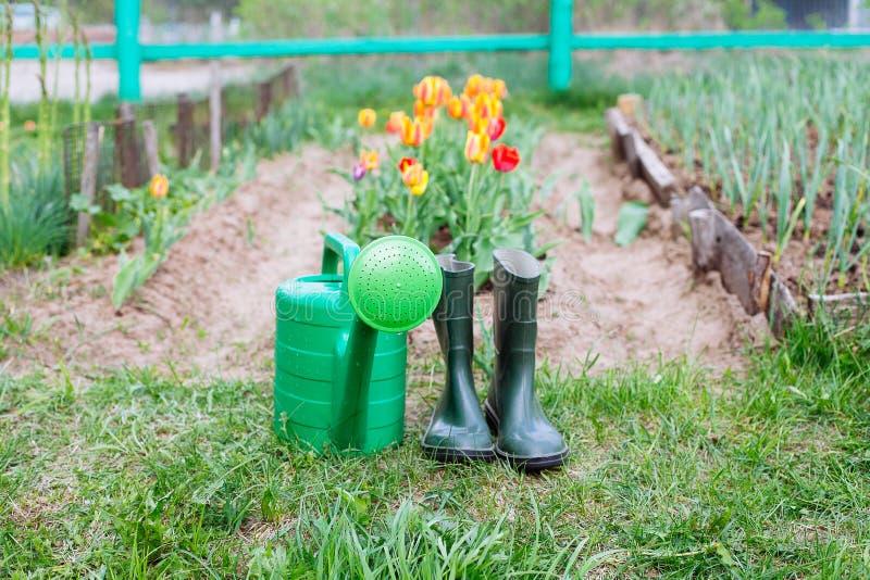 Gumowi buty z podlewanie puszką na trawie obrazy stock