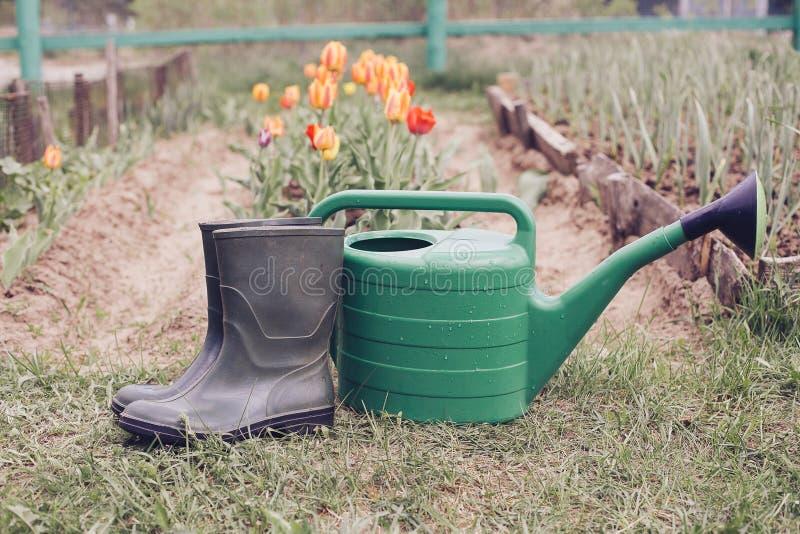 Gumowi buty z podlewanie puszką na trawie zdjęcie stock