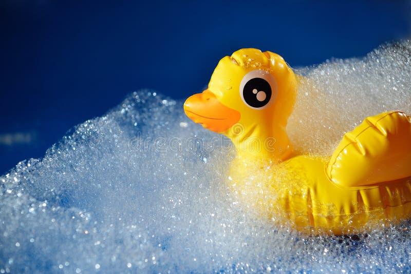 Gumowo-żółta kaczka na niebieskim tle w pianie Higiena osobista obraz royalty free