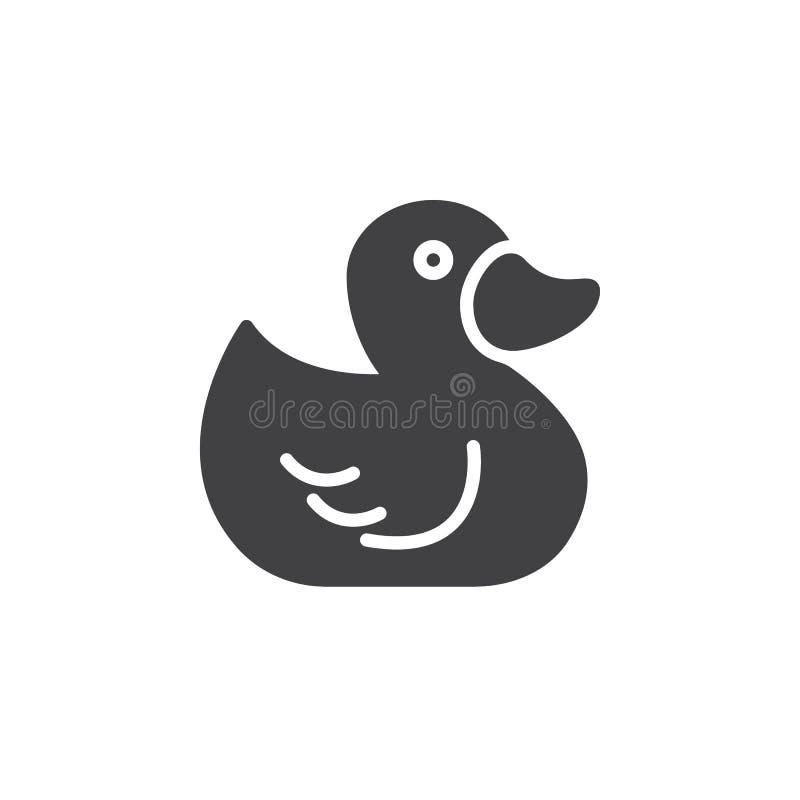 Gumowy kaczki zabawki ikony wektor, wypełniający mieszkanie znak, stały piktogram odizolowywający na bielu ilustracja wektor