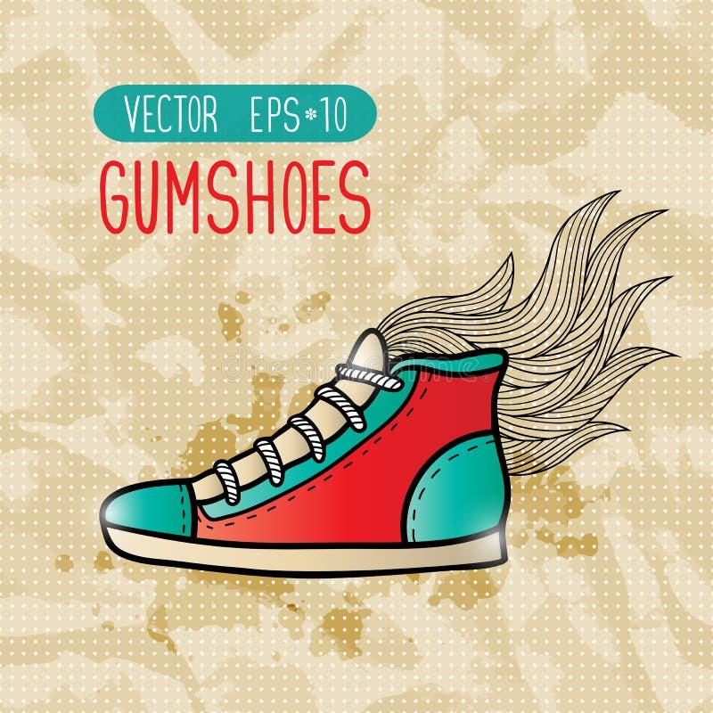 Gumshoes do moderno da garatuja ilustração stock