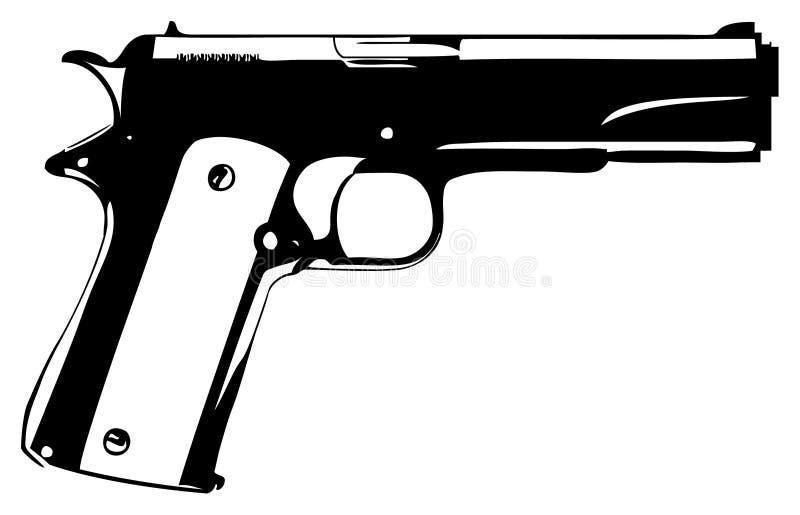 Gun. Black gun on a white background