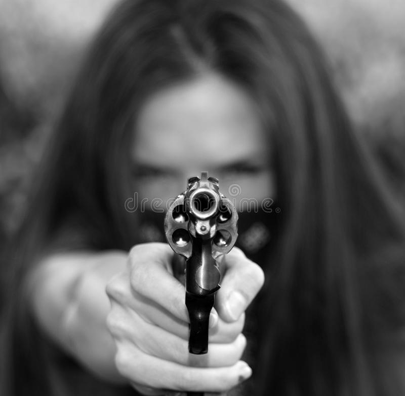 Gun Bandit Points Revolver at Viewer royalty free stock images