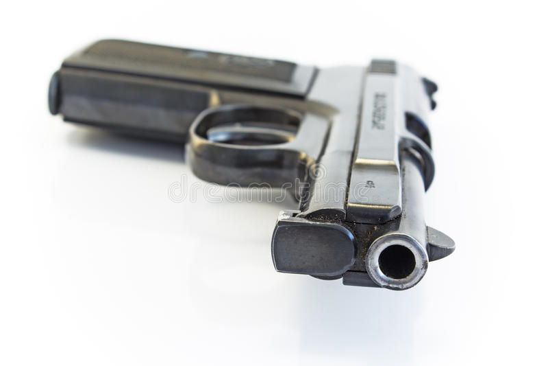 Gun barrel isolated on white royalty free stock image
