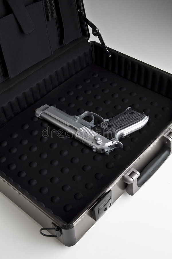 Download Gun in a briefcase stock image. Image of briefcase, handgun - 7670935