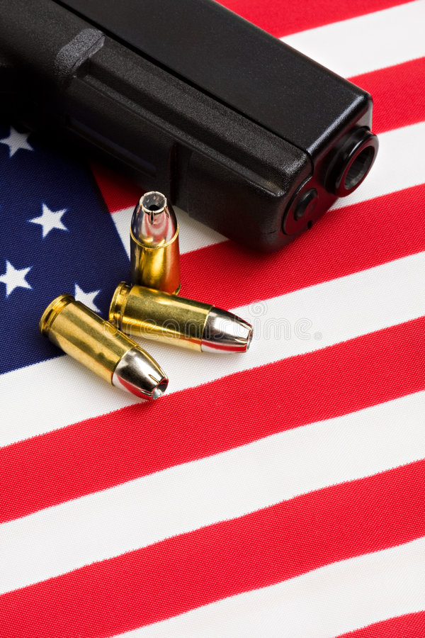 Download Gun and bullets on flag stock photo. Image of militarism - 4992272