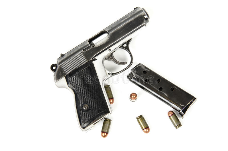 Gun with bullets and magazine royalty free stock images