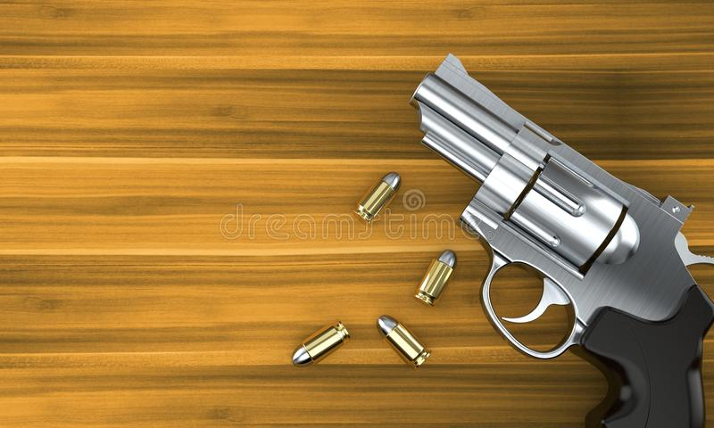 Gun with bullets royalty free illustration
