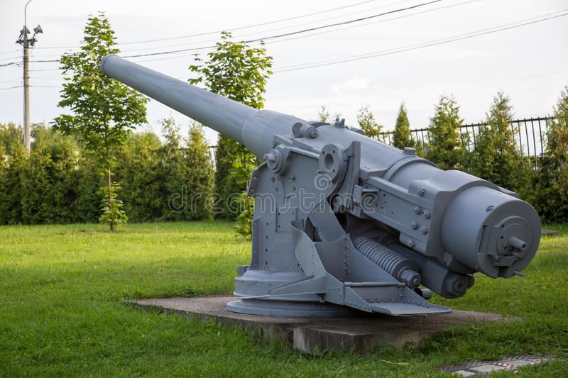 Gun caliber 152 mm, France. Military equipment. Of the Second world war royalty free stock photos