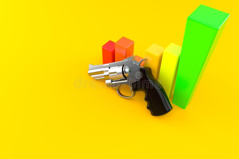Gun with chart royalty free illustration