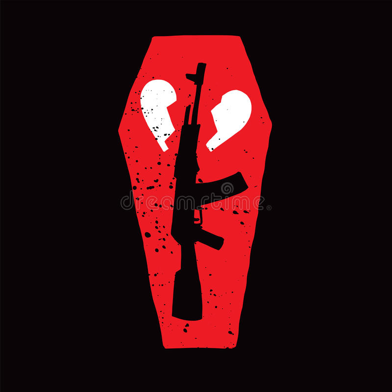 Gun, Coffin and Broken Heart royalty free stock images
