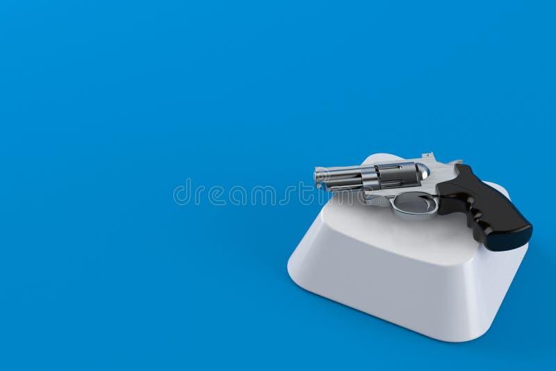 Gun on computer key. Isolated on blue background. 3d illustration vector illustration
