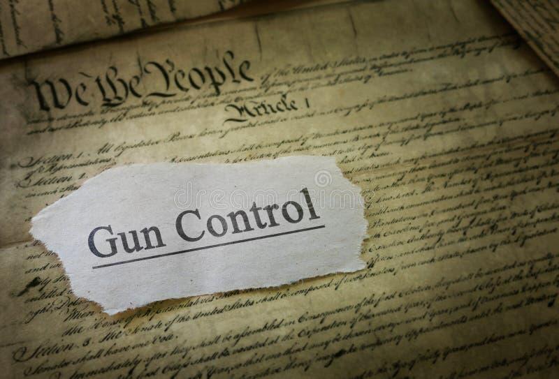 Gun Control headline. Gun Control news headline on the US Constitution royalty free stock photo
