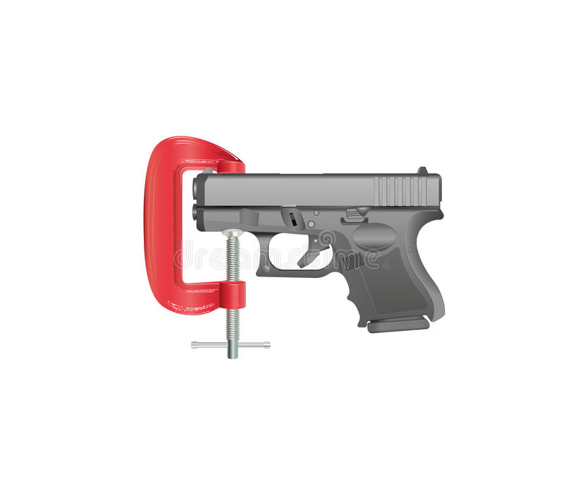 Gun Control. Illustration of a handgun gripped in a G clamp against a white background. Gradients, gradient meshes and transparencies have been used royalty free illustration