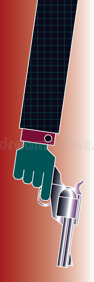 Gun Crime Arm. He has a firearm and style. From advertising art to crime illustration, this colorful arm will grab their attention. Leave tall for a side graphic royalty free illustration