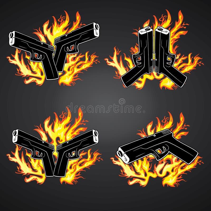 Gun Glock Pistol Fire Flames Graphic Stock Illustration