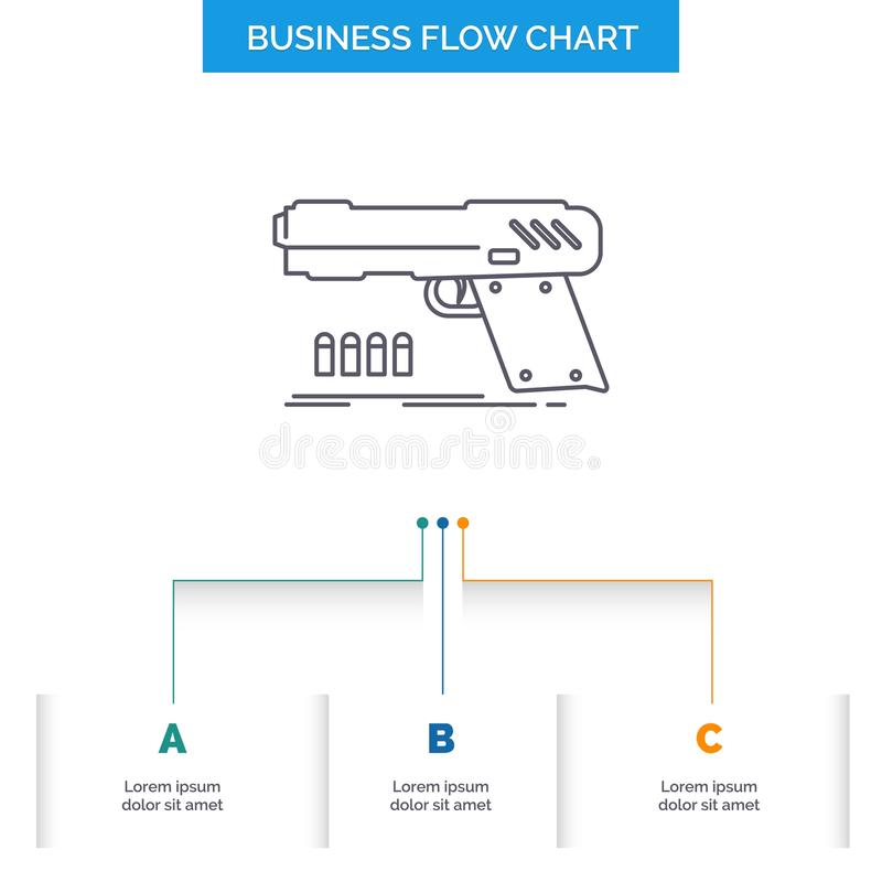 gun, handgun, pistol, shooter, weapon Business Flow Chart Design with 3 Steps. Line Icon For Presentation Background Template royalty free illustration