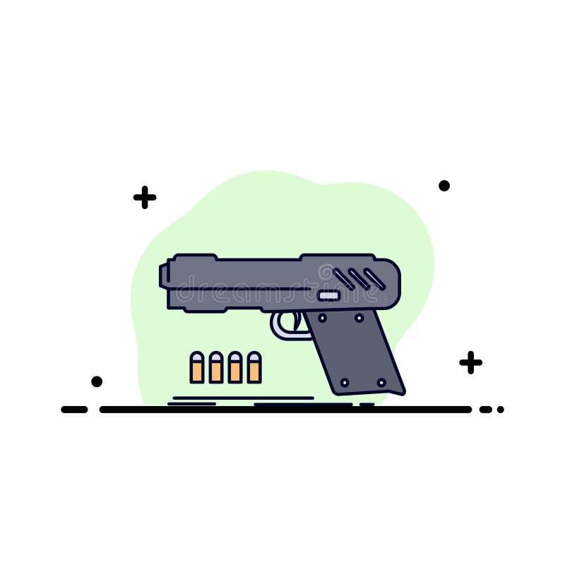 gun, handgun, pistol, shooter, weapon Flat Color Icon Vector vector illustration