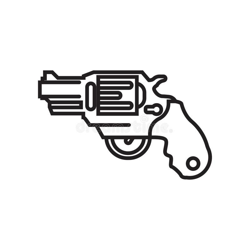 Gun icon vector sign and symbol isolated on white background, Gu royalty free illustration