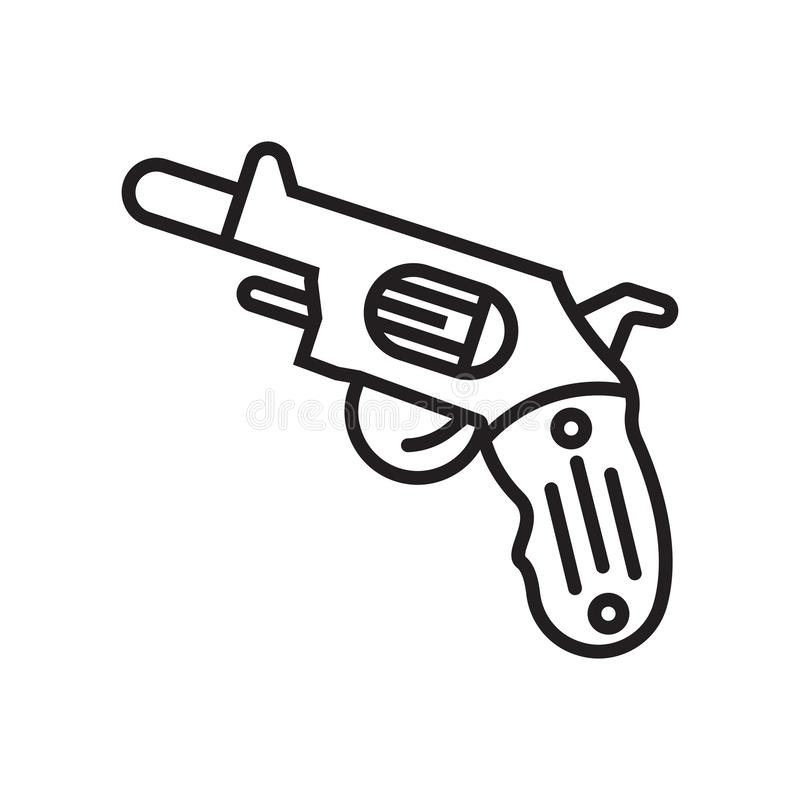 Gun icon vector sign and symbol isolated on white background, Gu stock illustration