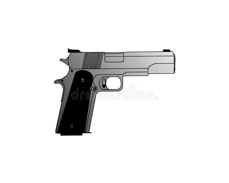 Gun isolated vector silhouette illustration pistol white weapon icon. Man hand rifle background design black handgun stock illustration