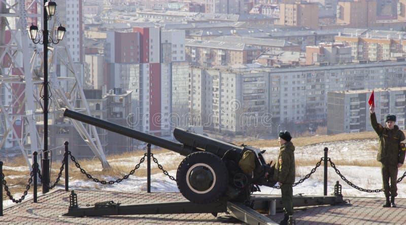 Gun  in Krasnoyarsk stock images