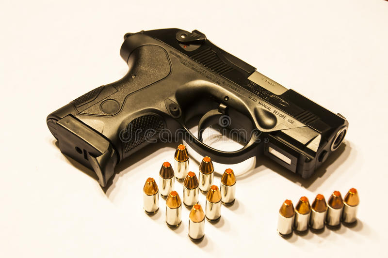 Gun. Modern semiautomatic hand gun, Glock 9mm pistol firearm royalty free stock photography