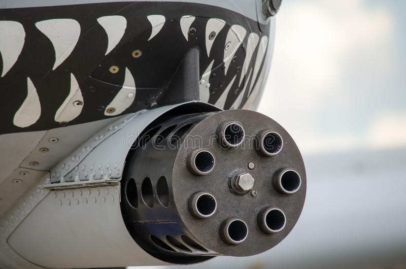 Gun mounted on military aircraft royalty free stock images