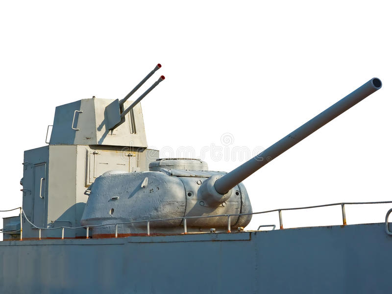 Gun on the old ship royalty free stock photography