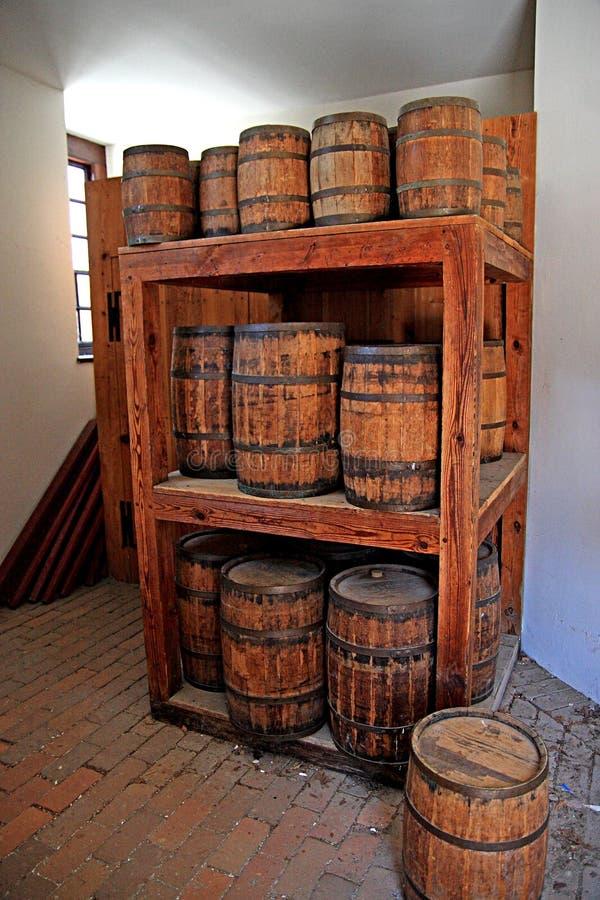 Gun powder kegs in storage. A background of gun powder kegs in storage stock image