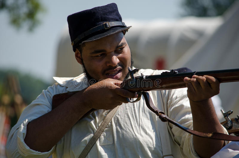 Gun practice union soldier stock photography