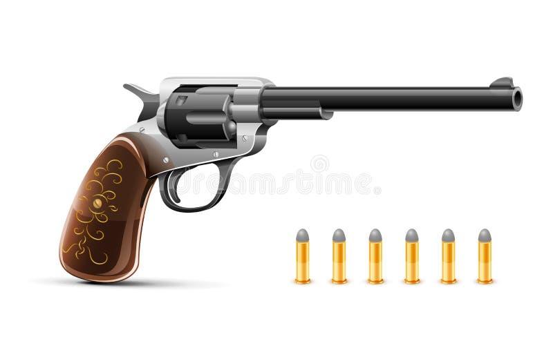 Gun revolver with bullet. Illustration isolated on white background vector illustration