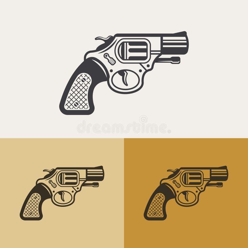 Gun or revolver vector outline design element. Gun vector outline design element, vintage classic revolver silhouette icon, weapon sign vector illustration