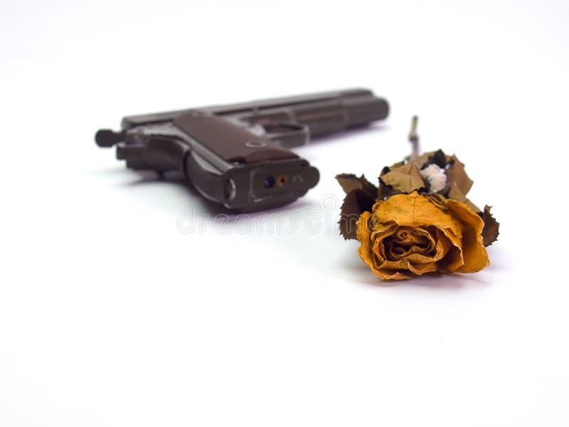Gun and rose stock image